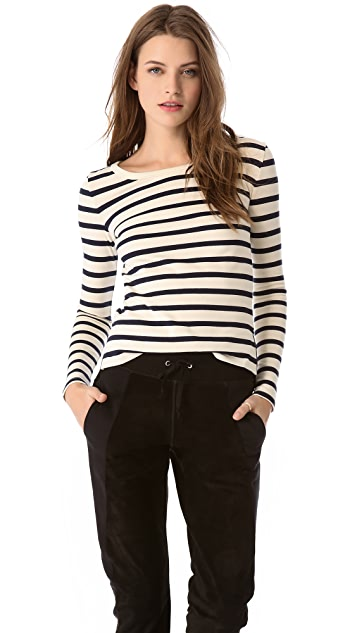 Joseph Boat Neck Stripe Top with Leather Elbows