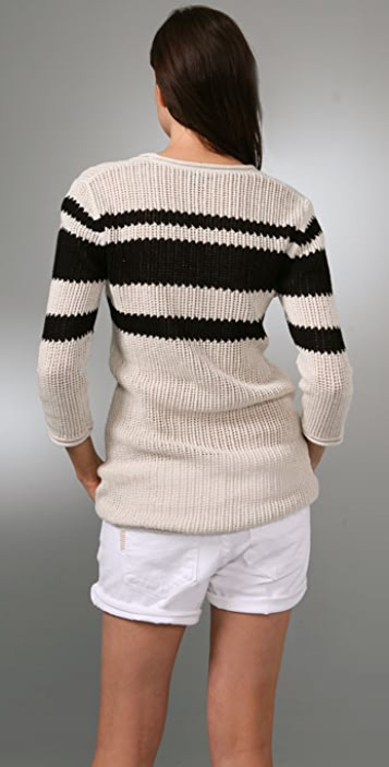 James Perse Stripe Scoop Neck Sweater