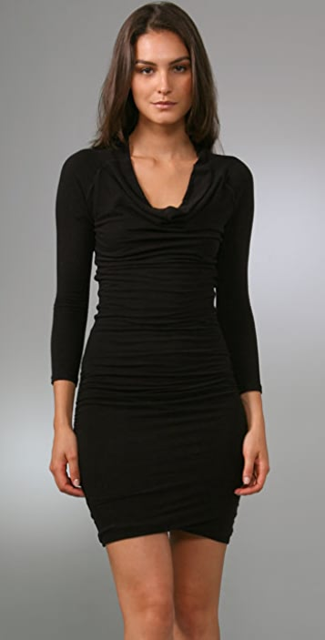 James Perse Cowl Neck Fitted Dress