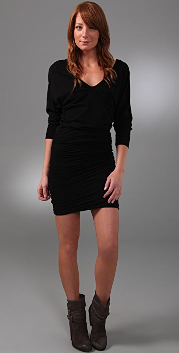 James Perse 3/4 Sleeve Deep V Dress