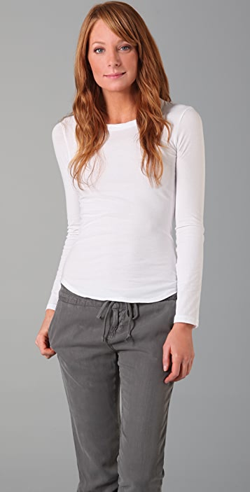 James Perse Long Sleeve Jewel Neck Tee