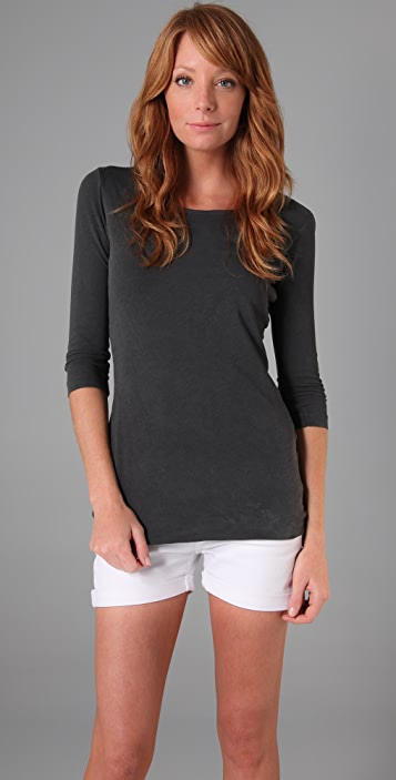 James Perse Fitted Jewel Neck 3/4 Sleeve Tee