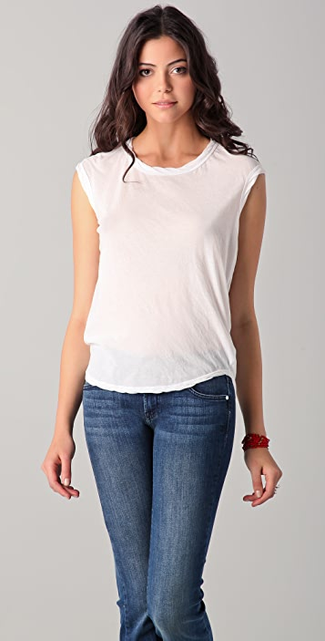 James Perse Curved Hem Shell Top