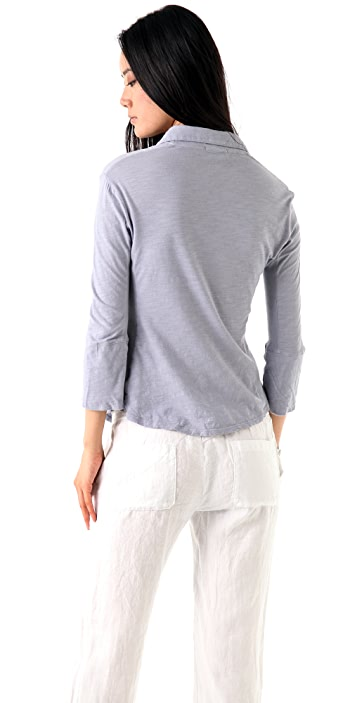 James Perse Ribbed Panel 3/4 Sleeve Shirt