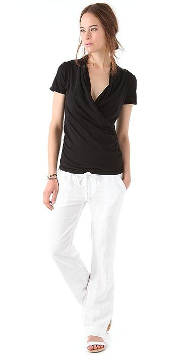 James Perse Cross Front Drape Short Sleeve Shirt