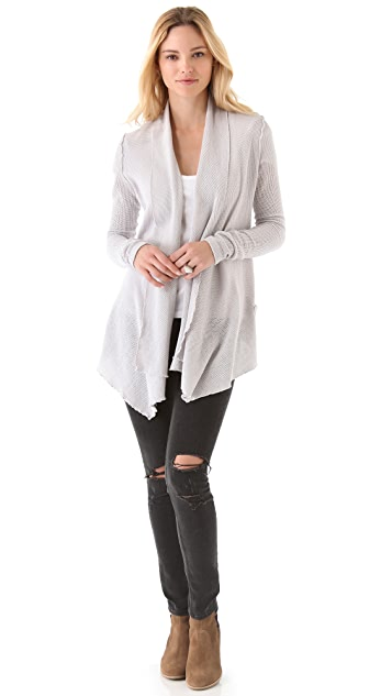 James Perse Open Drape Mesh Cardigan