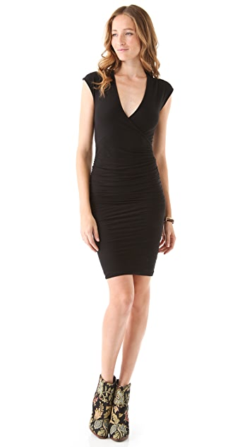 James Perse Cross Front Cap Sleeve Dress