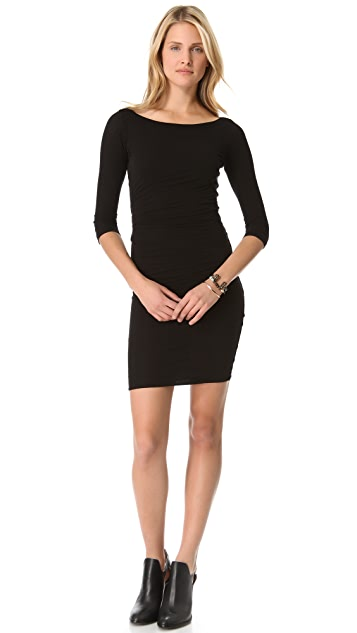 James Perse Asymmetrical Boat Neck Dress