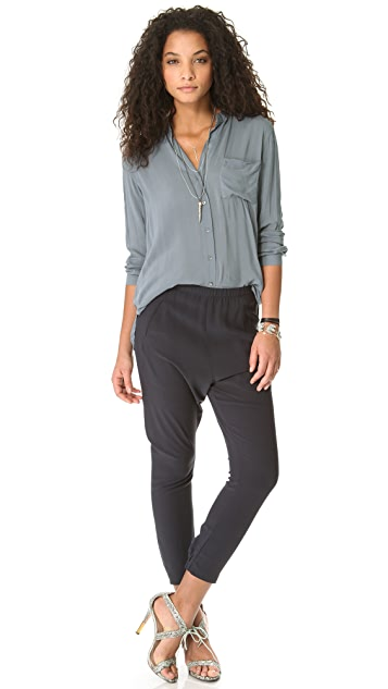 James Perse Collarless Pocket Shirt