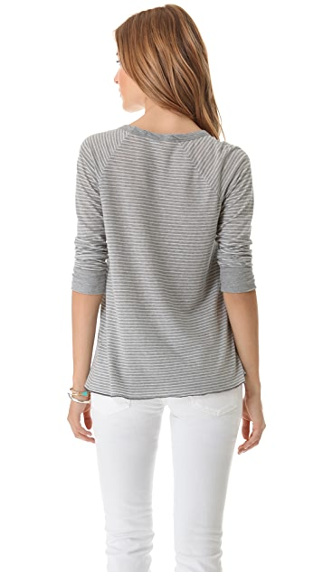 James Perse Overdyed Stripe Raglan Tee