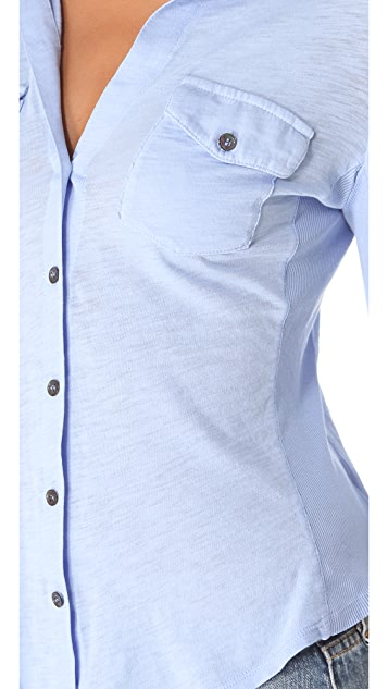 James Perse Ribbed Panel Shirt