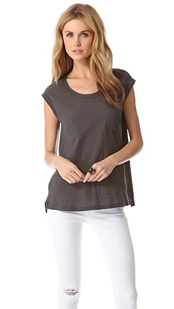James Perse Slub Pocket Shell Top