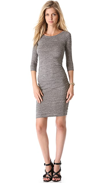 James Perse Jewel Neck Salt And Pepper Dress