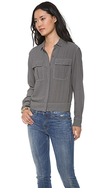 James Perse Crepe Dolman Surplus Shirt