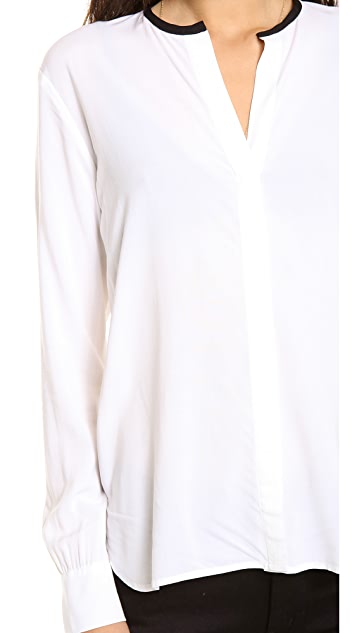 James Perse Contrast Collar Blouse