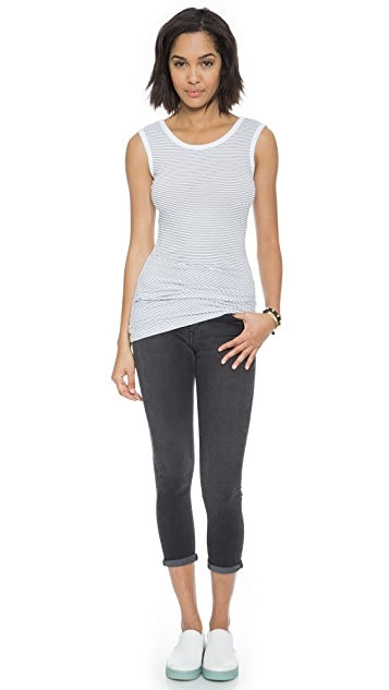 James Perse Tucked Stripe Ballet Top