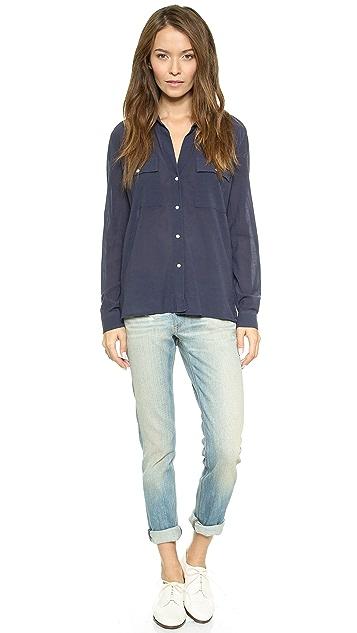 James Perse Silk Blend Pocket Shirt