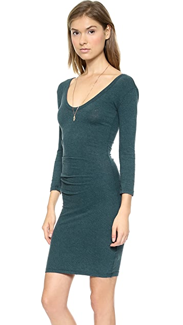 James Perse Double V Tucked Dress