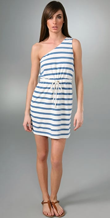 Juicy Couture Lurex Stripe Terry One Shoulder Dress