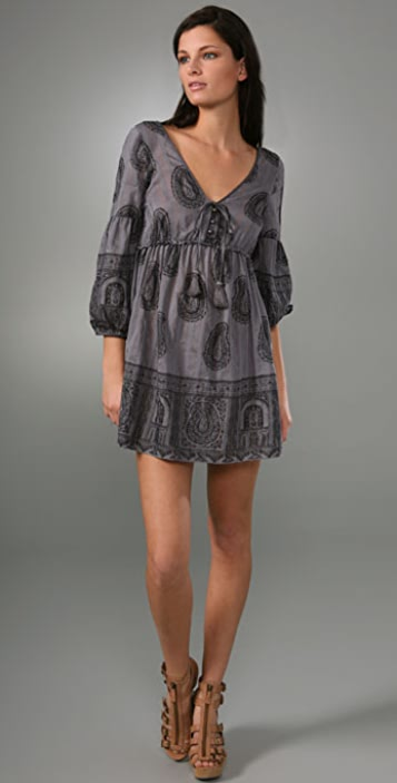 Juicy Couture Shirred Empire Paisley Dress