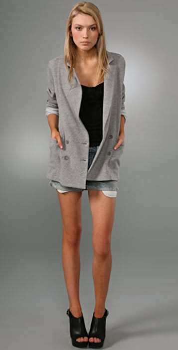 Juicy Couture Fleece Double Breasted Blazer