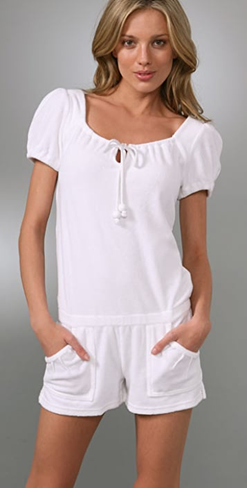 Juicy Couture Terry Puff Sleeve Cargo Romper