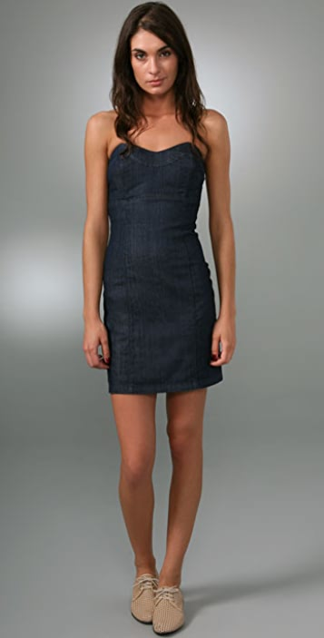 Juicy Couture Fitted Denim Strapless Dress