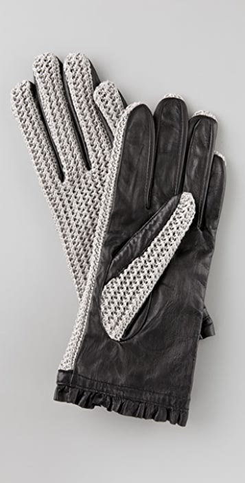 Juicy Couture Crochet and Leather Gloves