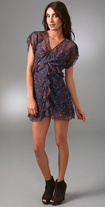Juicy Couture Paisley Chiffon Ruffle Dress