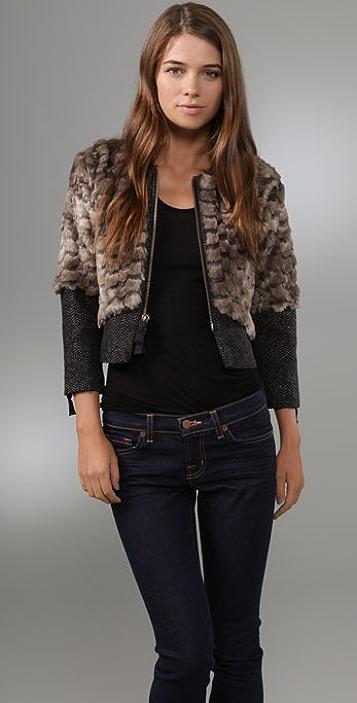 b17a80bc45f8 Juicy Couture Faux Fur & Herringbone Jacket | SHOPBOP