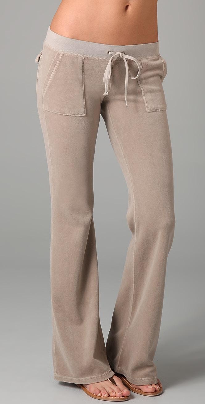 Juicy Couture Velour Flare Snap Pocket Pants Shopbop