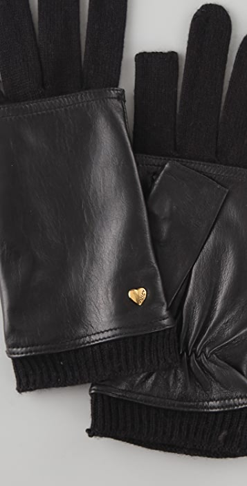 Juicy Couture Text Me Leather Electronic Gloves