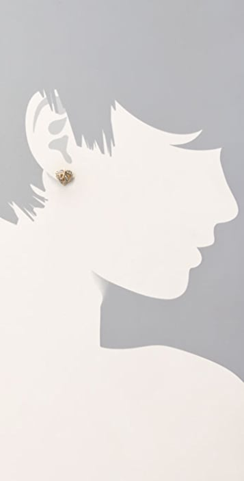 Juicy Couture Pave Heart Leaf Studs