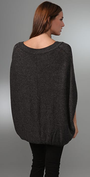 Juicy Couture Mixed Gauge Novelty Yarn Poncho