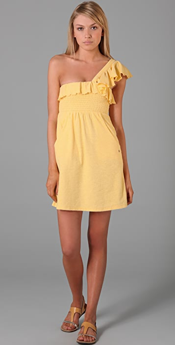 Juicy Couture Smocked One Shoulder Ruffle Dress