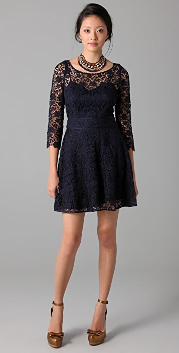 Juicy Couture 3/4 Sleeve Guipure Lace Dress