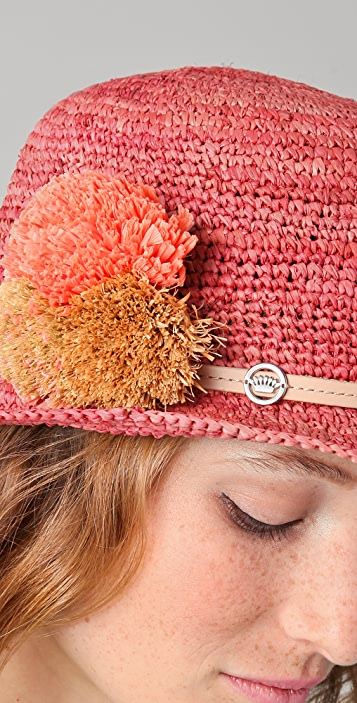 Juicy Couture Straw Bucket Hat with Oversized Flowers