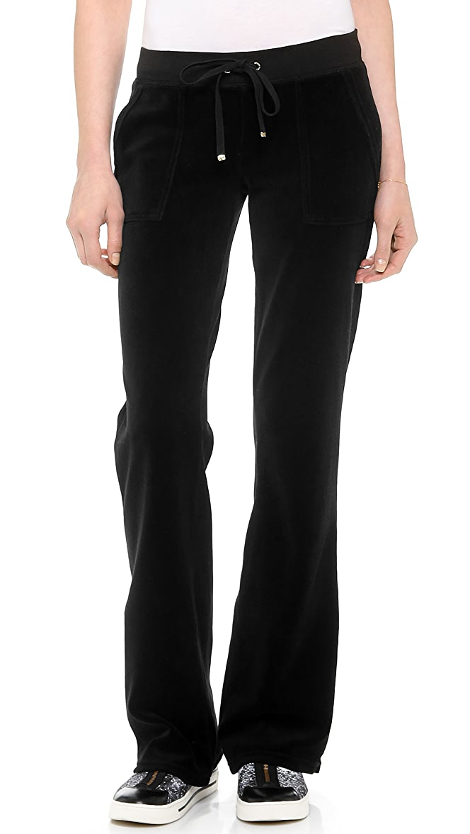 Juicy Couture Velour Boot Cut Pants With Snap Pockets Shopbop