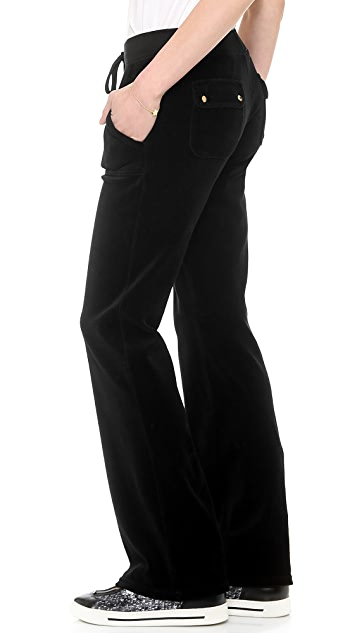 Juicy Couture Velour Boot Cut Pants with Snap Pockets