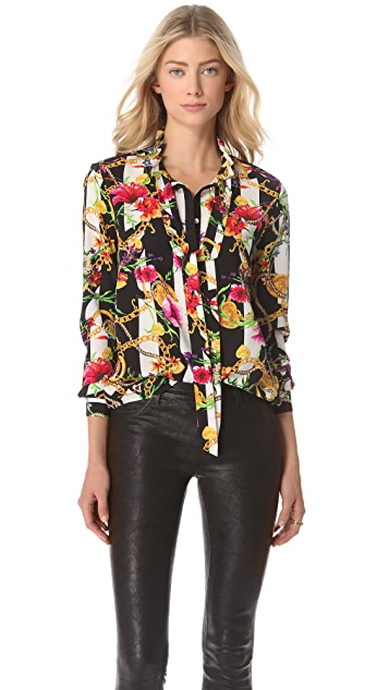 0ec283a95be14 Juicy Couture Floral Stripe Silk Blouse