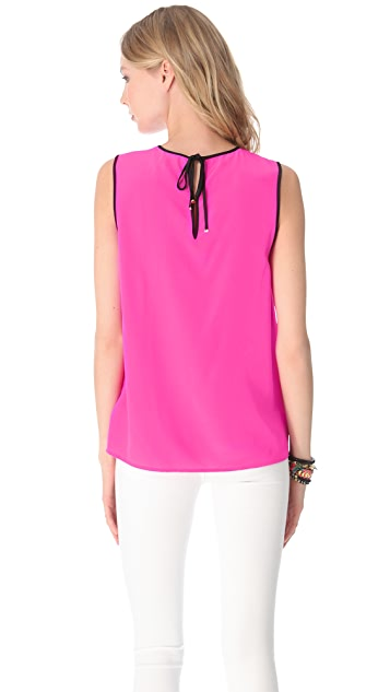Juicy Couture Contrast Binding Silk Top