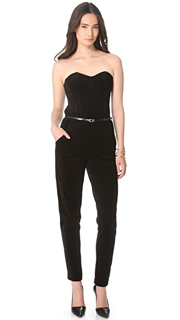 Juicy Couture Bustier Velour Strapless Jumpsuit