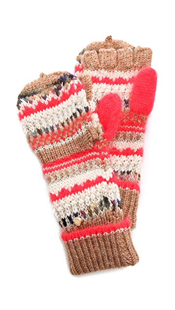 Juicy Couture Mixed Yarn Pop Top Gloves