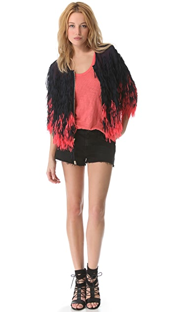 Juicy Couture Chiffon Fringe Jacket