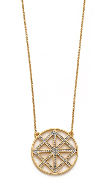 Juicy Couture Pave Lattice Round Pendant Necklace