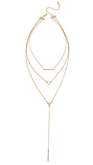 Jules Smith Triple Layer Lariat Charm Necklace