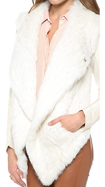 June Knit Fur Jacket with Leather Sleeves