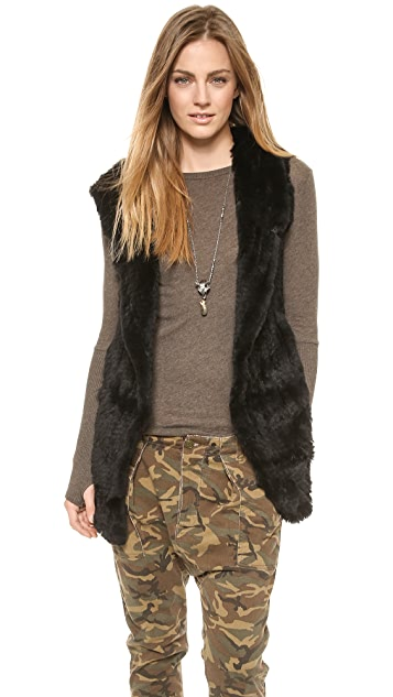 June Knit Fur Hooded Vest