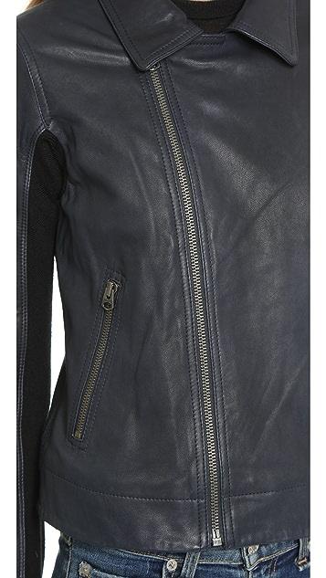 June Slim Fit Leather Moto Jacket
