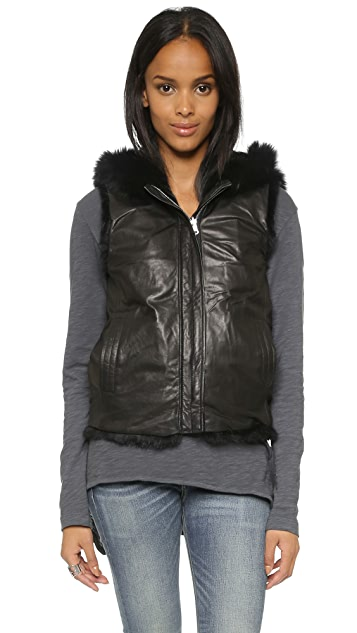 June Reversible Leather Hoodie Vest
